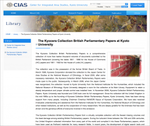 The Kyocera Collection British Parliamentary Papers at Kyoto University, Center for Integrated Area Studies, Kyoto University