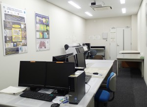 GIS Laboratory: 4 PCs for education and one workstation are set.