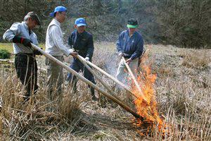椋川(高島市)で萱原の火入れ――竹のたいまつに種火を移す