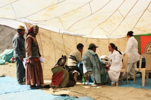 Medical check-up of nomad people with local staffs in Ladakh, India