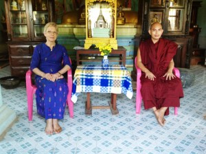 With Ven. Sakhangyi Sayadaw north of Dawei, Tanintharyi Division, 3 May 2013, to view the monastery collection of ancient artefacts and religious manuscripts during field trip, Department of Archaeology, Ministry of Culture.