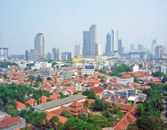 A city skyline of Jakarta