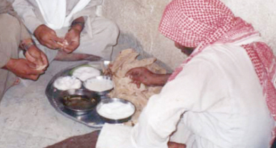 "Dietary intake which depends largely on milk and milk products, in a Baqqara group, Arab pastoralist, North-east Syria. There are fermented milk ""khaather"", butter ""zibde"", butter-oil ""samneh"", sugar and naan ""khobz"" on the plate. The dietary intake in the Baqqara consists of milk and milk products mainly, rather than meats."