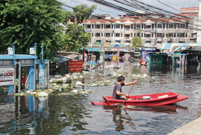 Flood situation in northern suburb of Bangkok (October, 2011). Land use, human activities, and hydraulic systems in Chaophraya River delta have been drastically changing for the last five decades.