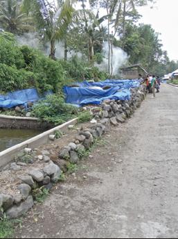 Fish-raising ponds in a evacuation village.