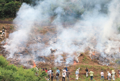 Burning of scrub forest in Yogo town. Participants looking up from the lower end of the slope after the burning.