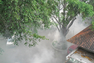 An insecticide fogging operation at a tourist hotel in Bali, Indonesia.