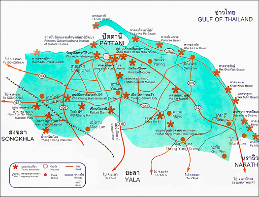 Pict. 2: Map of tourist attractions in Patani. Red stars indicate natural and ­historical attractions which include Yarang Ancient City and Krue Sae Mosque.