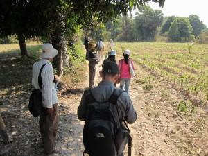 カンボジア農業大学の学生と農村を訪問し、生業変化に関する フィールドワークを行う(2013年2月)