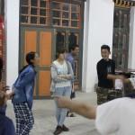 シェラブツェの学生に踊りを習う Dance practice by students of Sherubtse College