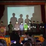 シェラブツェ・カレッジ朝礼で発表Presentations in the morning assembly at Sherubtse College